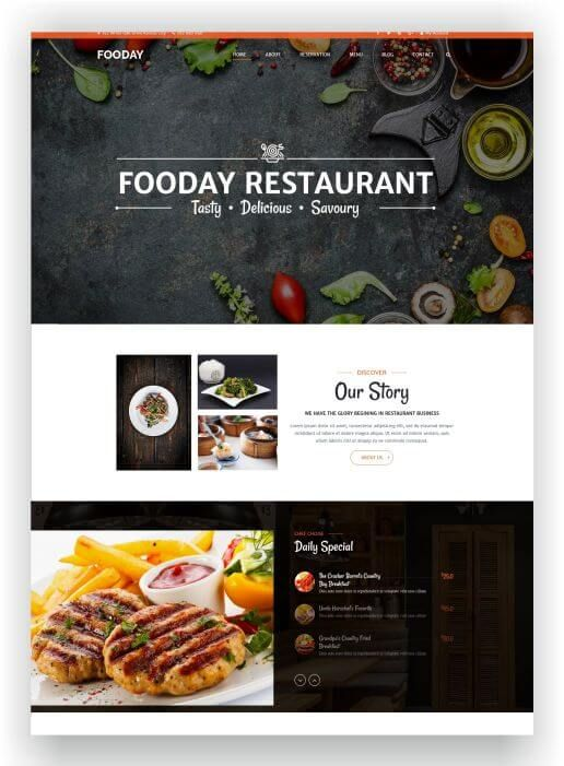 Find here the HTML5 Restaurant Theme Fooday! The theme is retina ready, responsive and comes with 4 Homepages and Parallax Effect! Download Theme here!