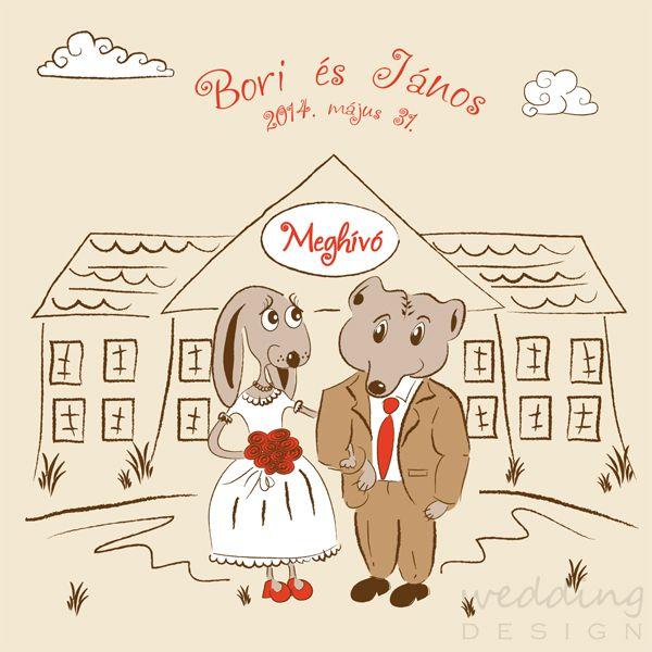 Rabbit & Bear love :), wedding invitation card - Nyuszi &