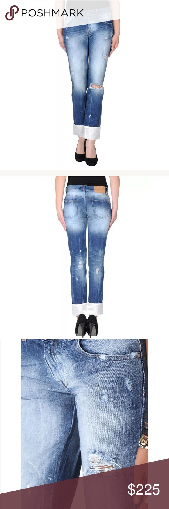 🎀Pierre Balmain distressed cuffed cropped jeans Wide, satin-trimmed cuffs bring a romantic, grunge-inspired element to these streaked skinny jeans. Shredded holes and bleach splashes add a nonchalant edge, and 5-pocket styling finishes the pair. Button closure and zip fly.  Fabric: Denim. 100% cotton. Wash cold or dry clean. Made in Italy.  MEASUREMENTS Rise: 8in / 20cm Inseam: 29in / 74cm Leg opening: 12in / 30.5cm 100% Authentic size 27 Pierre Balmain Jeans Ankle & Cropped
