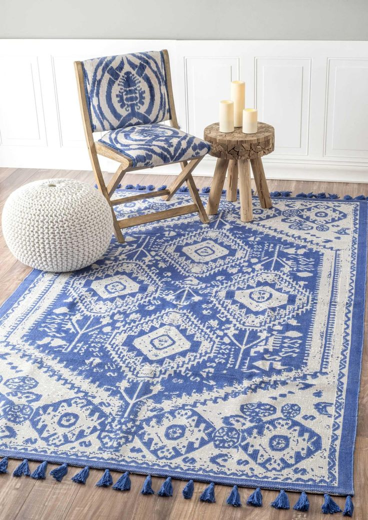 this lovely classic rug has a vintage look without the price. beautiful blue and white 100% cotton