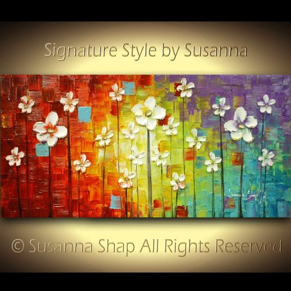 ORIGINAL Large Colorful Abstract White Flowers Landscape Oil Painting Multicolored Heavy Texured Modern Art by Susanna Ready to Hang 48x24