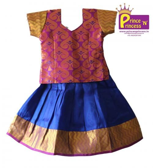 Pattu Langa for Kids . Pattu Pavadai . Traditional wear . To buy www.princenprincess.in #langa #voni #pattu #pavadai #pattuPavadai #silk #kancheepuram #silk