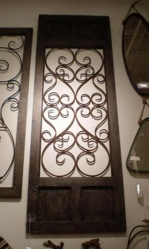 Tall Tuscan Open Scrolled Iron Wall Grill Framed In Distressed Burnished Wood Favorite Things Home Decor