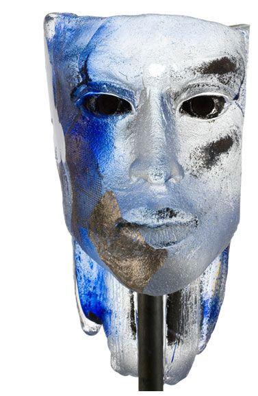 Blue Elf Glass sculpture by Claes Uvesten