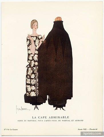 """Georges Lepape 1922 Martial et Armand, """"La Cape Admirable"""", Gazette du Bon Ton"""