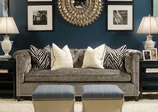 beautiful rooms with dark teal walls | dark teal walls, gray sofa and gold accents...love this! by rachelpp