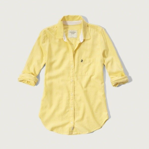 Abercrombie & Fitch Drapey Oxford Shirt ($58) ❤ liked on Polyvore featuring tops, yellow, drape top, oxford shirt, beige top, yellow top and drapey top