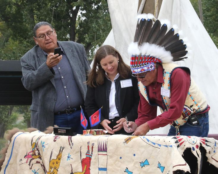 The Oglala Sioux Tribe and the Federal Emergency Management agency came together at the Pine Ridge Powwow grounds to celebrate a first of its kind memorandum of agreement.