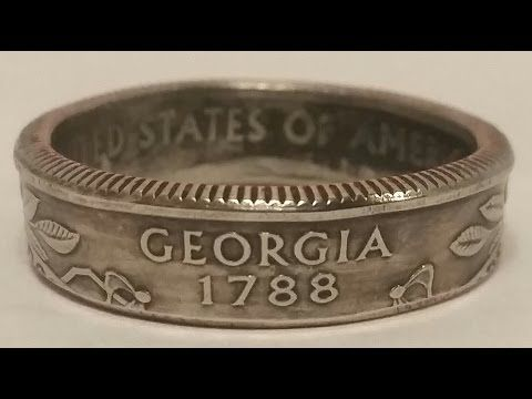 How to make double sided silver Morgan, Peace dollar coin rings - Tools revealed - YouTube