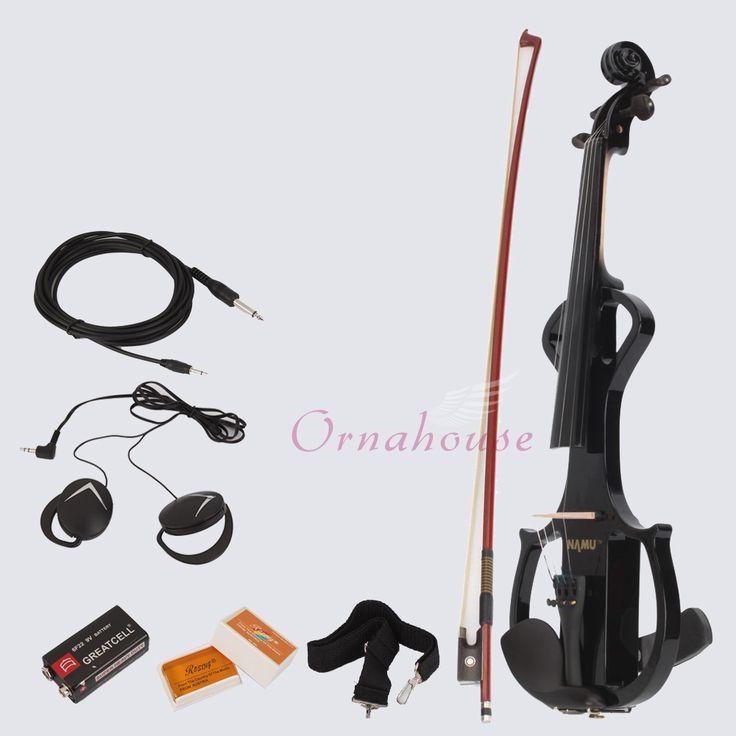 NEW High Quality 4 4 Full Size Black Electric Violin Rosin BOW Case   eBay - $113.99