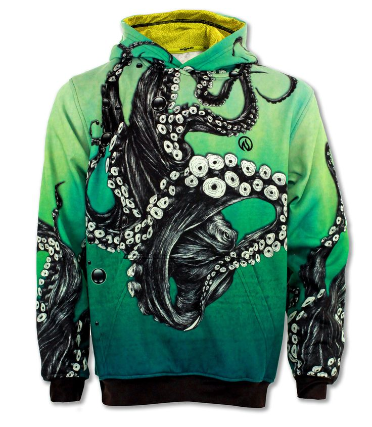 INKnBURN Octopus Pullover Hoodie with Front Pockets
