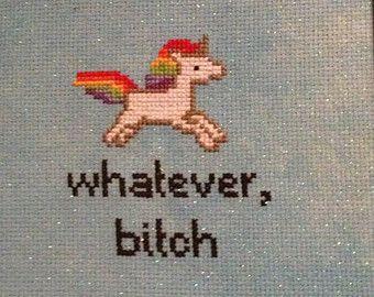 Whatever Bitch Unicorn Cross Stitch Pattern Rainbow PDF