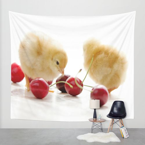 Sweet Chick and red Cherry Wall Tapestry by Tanja Riedel | Society6