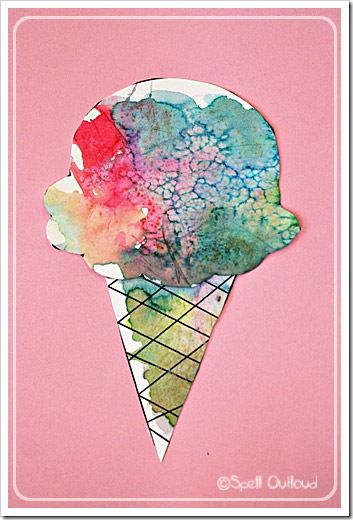 Paint your ice cream photo with colored ice! #diy: Ice Paintings, Colors Ice, Ice Cubes, Summer Watercolor Paintings, Ice Cream Paintings, Water Colors, Ice Cream Cones, Ice Cream Art, Paintings Ice