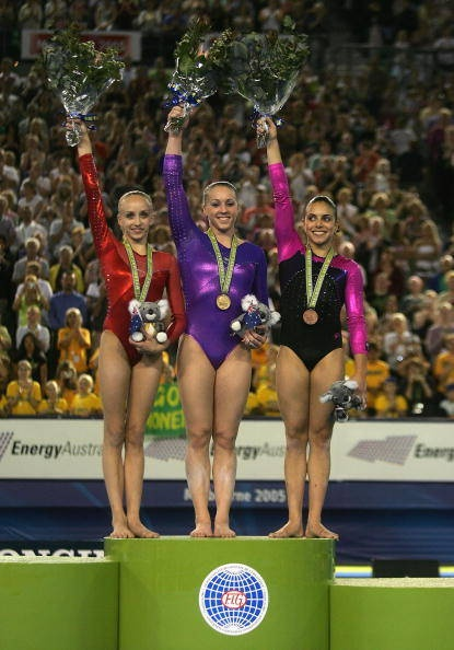 The All Around medal podium at the 2005 World Gymnastics Championships Silver: Nastia Liukin – USA Gold: Chellsie Memmel – USA. Bronze: Monette Russo – Australia  (I was there!!)