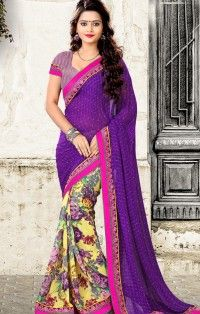 Winning Purple Colour Georgette Flower Print