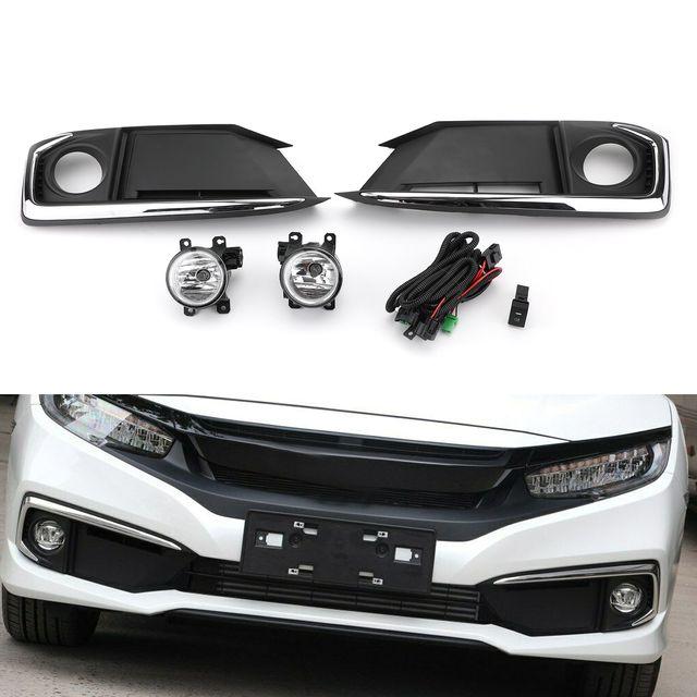 Pair Projector Fog Light Lamps W Bezel Cover Switch For Honda Civic 19 20 Black In 2020 Honda Civic Civic Honda Civic Sedan