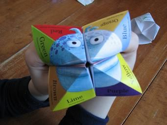 Paper fortune teller, also called a cootie catcher, chatterbox, salt cellar, or whirlybird