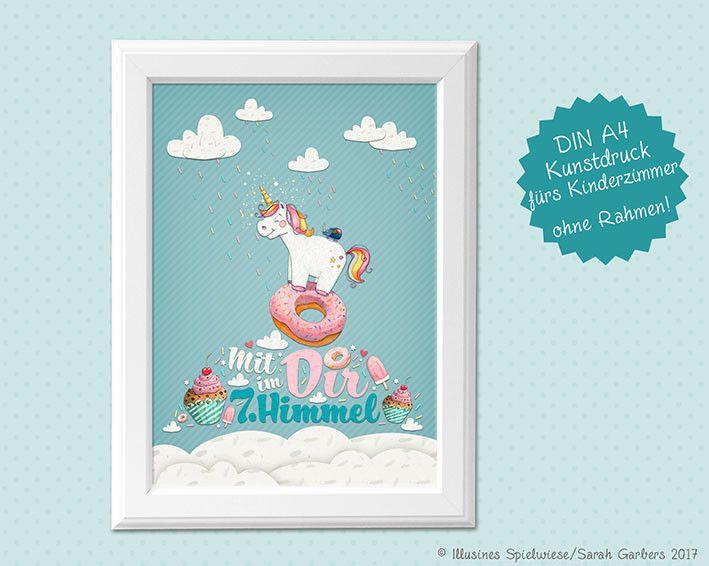 Bilderrahmen - Kinderzimmerbild | Einhorn im 7.Himmel  - ein Designerstück von Illusine bei DaWanda