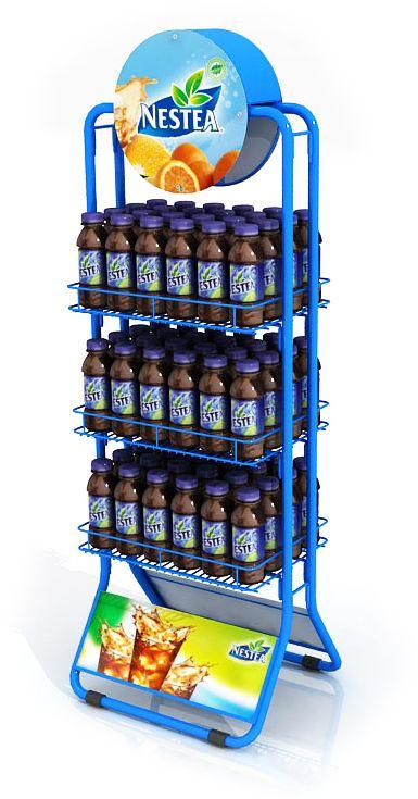 Exhibidor métalico desarmable para exportación: Consiste en 2 piezas centrales, una cenefa y tres bandejas en refilado, gráficas intercambiabes. desarrollado para ESTRATEGOS - INVENTA