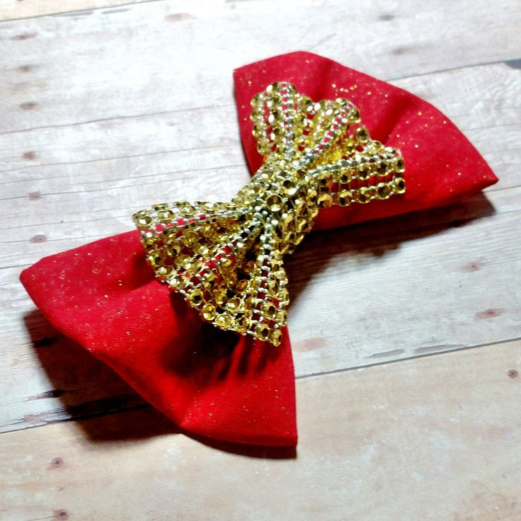 Fabric Hair Bow/Bow tie, Red Sparkly Hair Bow, Wedding Accessory, Glitter Fabric hair Bow, Boy Bow ties, Pageant, Cheer, Bridal, Christmas by CzechOutMyBows on Etsy
