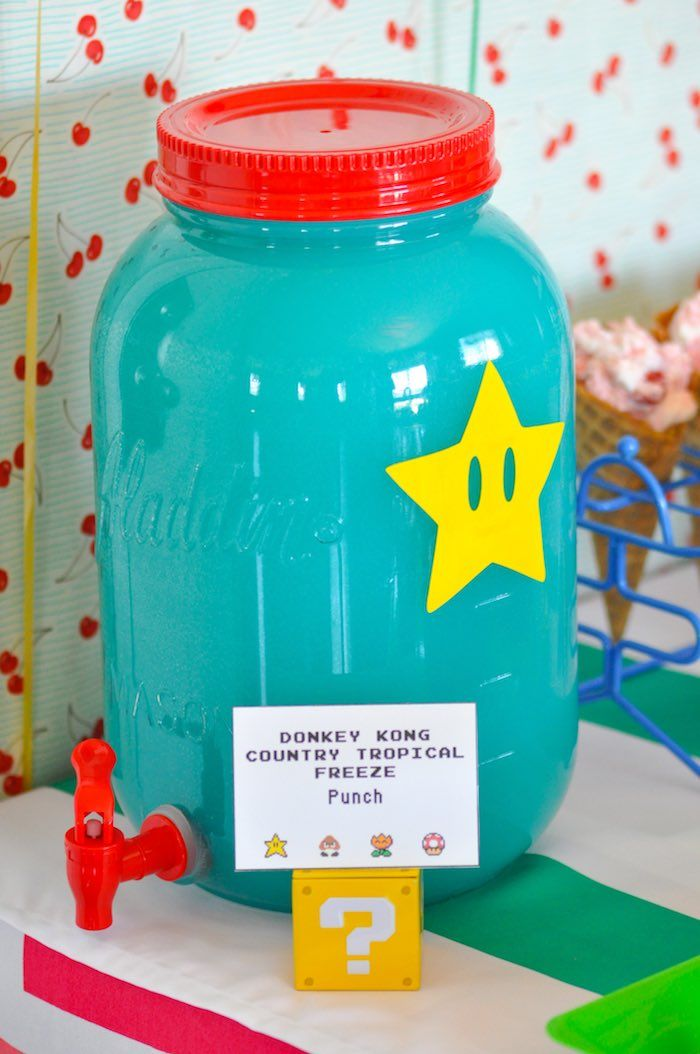 Donkey Kong Country Tropical Freeze Punch from a Nintendo Inspired Video Game Birthday Party via Kara's Party Ideas KarasPartyIdeas.com (30)