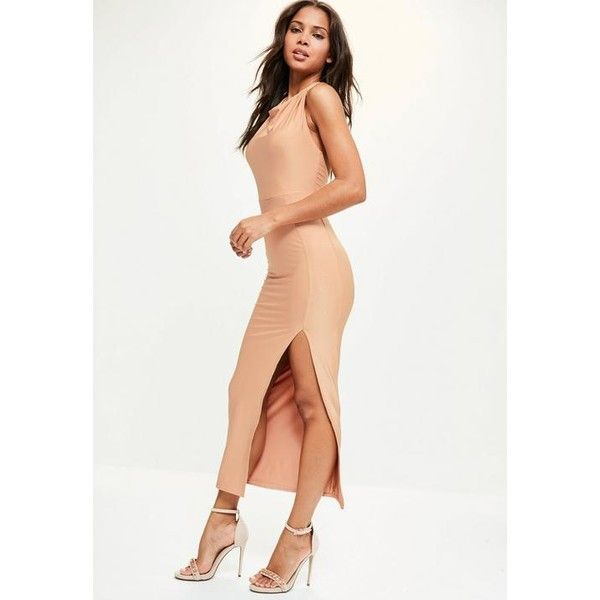 Missguided Nude Slinky Halterneck Thigh Split Dress ($50) ❤ liked on Polyvore featuring dresses, brown, stretch dresses, white halter top, brown halter top, white halter top dress and brown cocktail dress