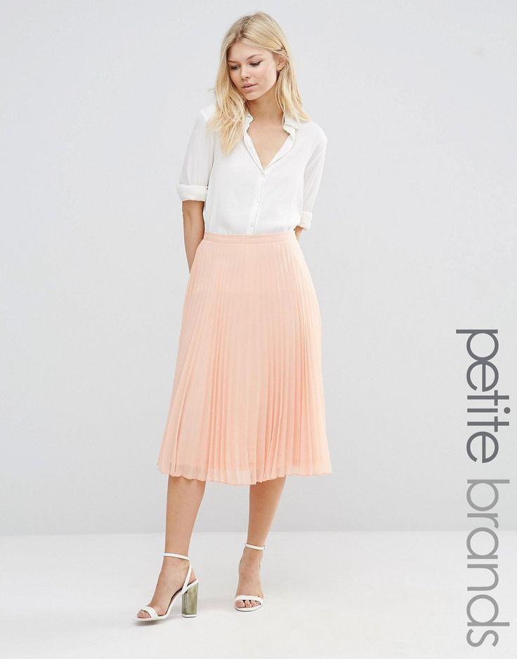 Image 1 ofNew Look Petite Pleated Midi Skirt