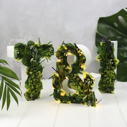 Botanical / greenery / Pantone 2017 inspired light up letters by The White Bulb