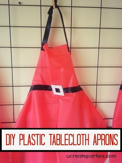cute idea for kids making Christmas cookies!   How to Make an Apron with a Plastic Tablecloth