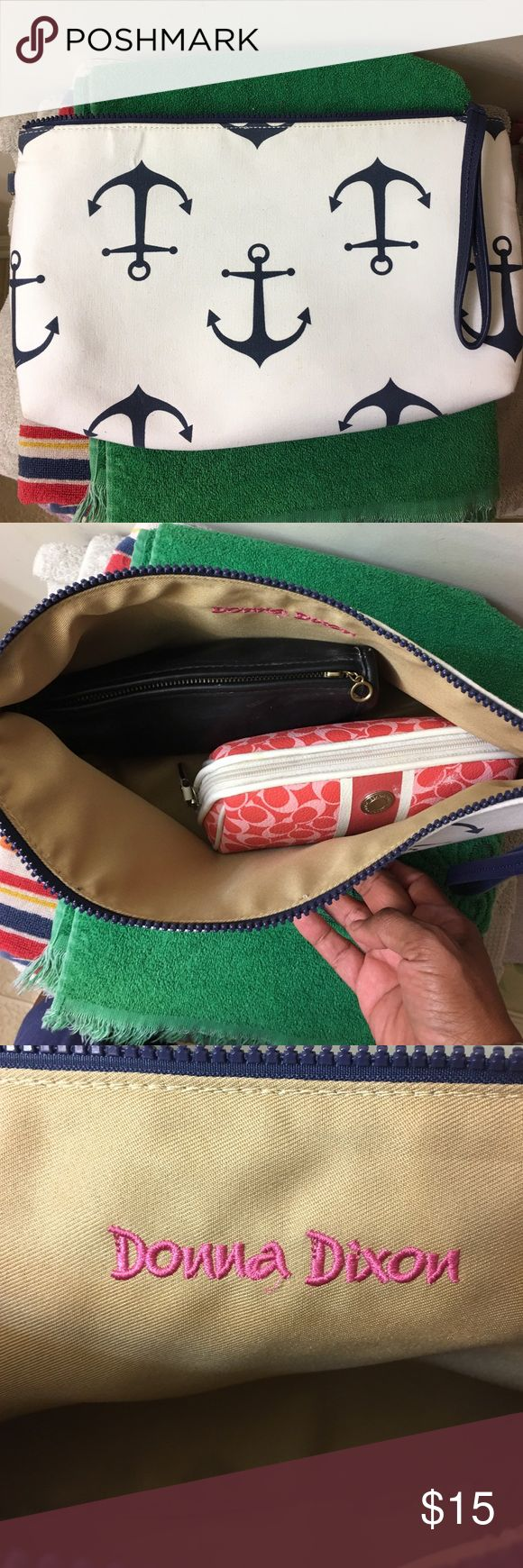 Medium size Nautical Clutch Bag Cute Medium sized Nautical clutch bag with Large deep Blue anchors ⚓️ on a White bag. Bag will fit keys; cosmetic bag; cell phone 📱;comb/brush, etc. Designer name: Donna Dixon. Donna Dixon Accessories