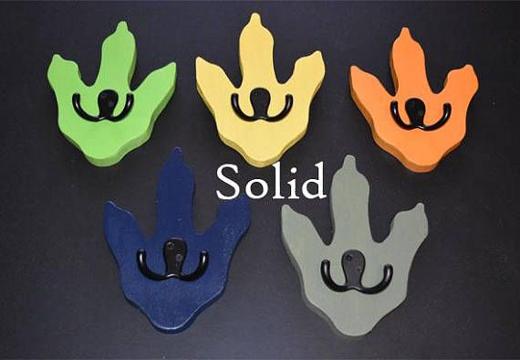 """Dinosaur feet coat rack quantities 1,2,3,4,5 or-6 Price per foot   Size: 8"""" tall x 6"""" wide  Hooks: Double Black power coated hooks  Material: 3/4"""" thick furniture grade plywood  Color: Pick from color chart or if a color is not indicated they will be green.  Mounting: D-ring"""