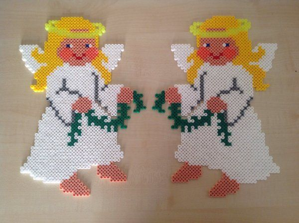 Christmas angels hama perler beads by cathy077