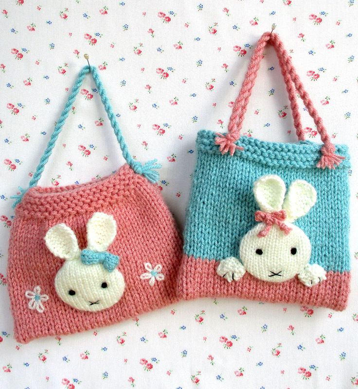 Knitting Pattern for Bunny Bags - These adorable bags are just the right size for treats or toys at 17cm (6.7in) x 15cm (6in). tba bunny easter
