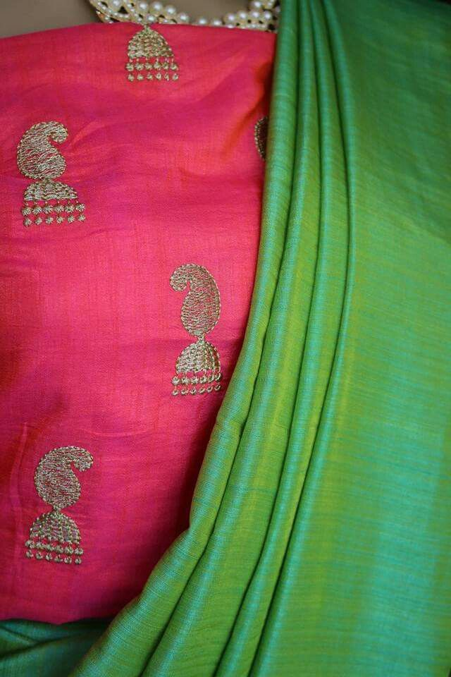 Soft silk saree with soft silk embroidered blouse Price:2099 Order what's app 7995736811