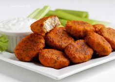LCHF Buffalo Chicken Nuggets. I would fry them and finish off in the oven for extra crispy. Maybe make them plain and make a spicy dipping sauce. YUM