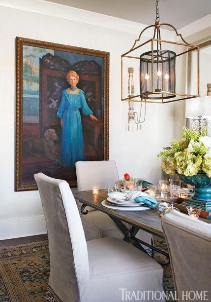 """Wallpaper (""""Regatta Raffia""""/Cream #T5711): Thibaut, 800/223-0704, thibautdesign.com. Ceiling paint (""""Shale"""" #861); trim paint (""""White Dove"""" #OC-17): Benjamin Moore & Co., 888/236-6667, benjaminmoore.com."""