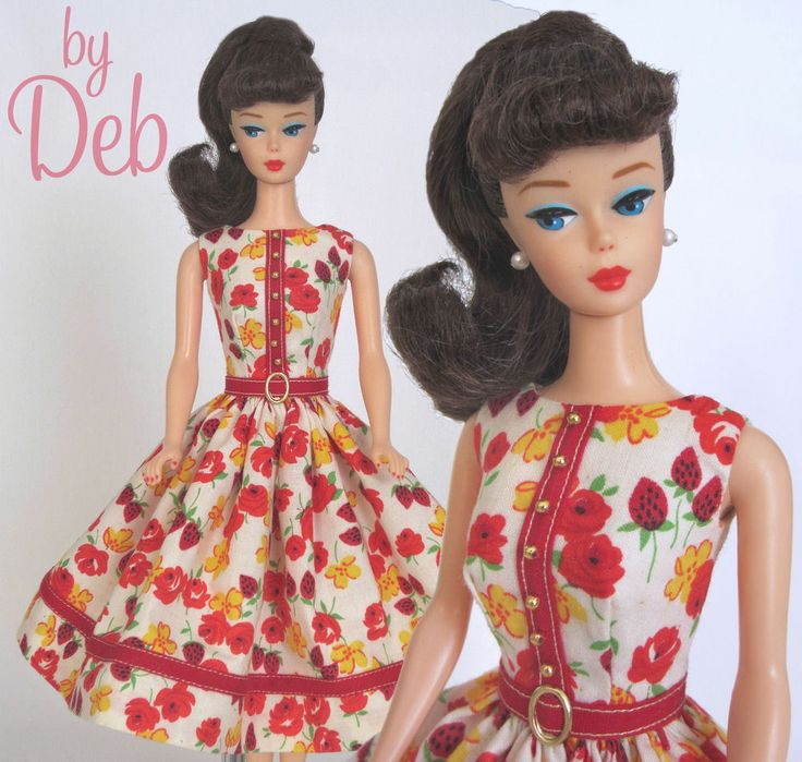 Strawberry Fields - Vintage Barbie Doll Dress Reproduction Repro Barbie Clothes