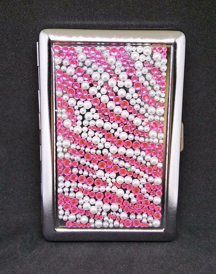 Fujima Metal Hot Pink Stone Zig Zag Design 100s Size Cigarette Case