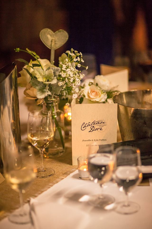 Gorgeous vintage/rustic theme with burlap runners and centrepieces by www.theeternalvase.com.au.  Menus by Chateau Dore @ www.chateaudore.com.au