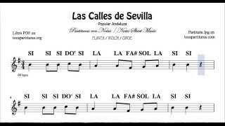 Las Calles de Sevilla Partitura con Notas fácil para Flauta Violín Oboe