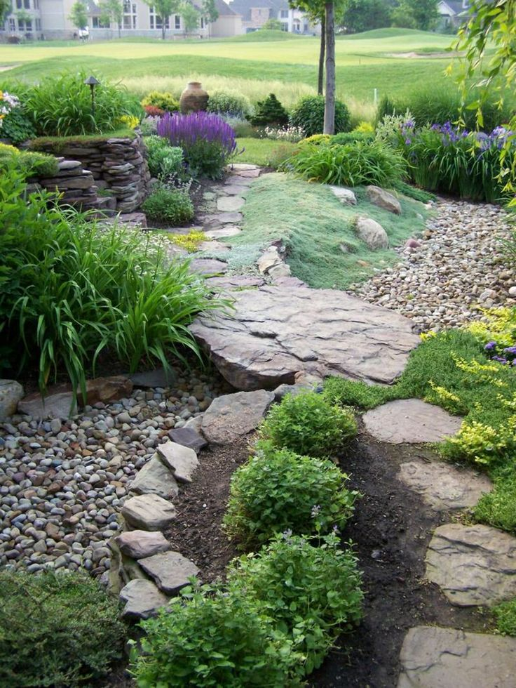 Landscaping Ideas For Flat Front Yard : Best ideas about dry creek bed on