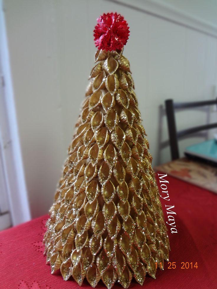 Como hacer un arbol navideño con pasta, manualidades (DIY)