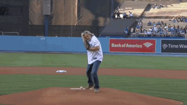 Jeff Bridges Resurrects The Dude, Bowls First Pitch at Dodgers Game - Today's News: Our Take | TVGuide.com