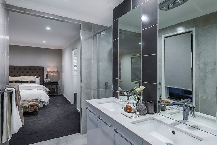 #Bedroom #design #ideas from #Ausbuild's  Ellison #display #home. www.ausbuild.com.au. This #master #bedroom #features an impressive #walk-in #robe and #en-suite with a stunning tufted #bedhead.