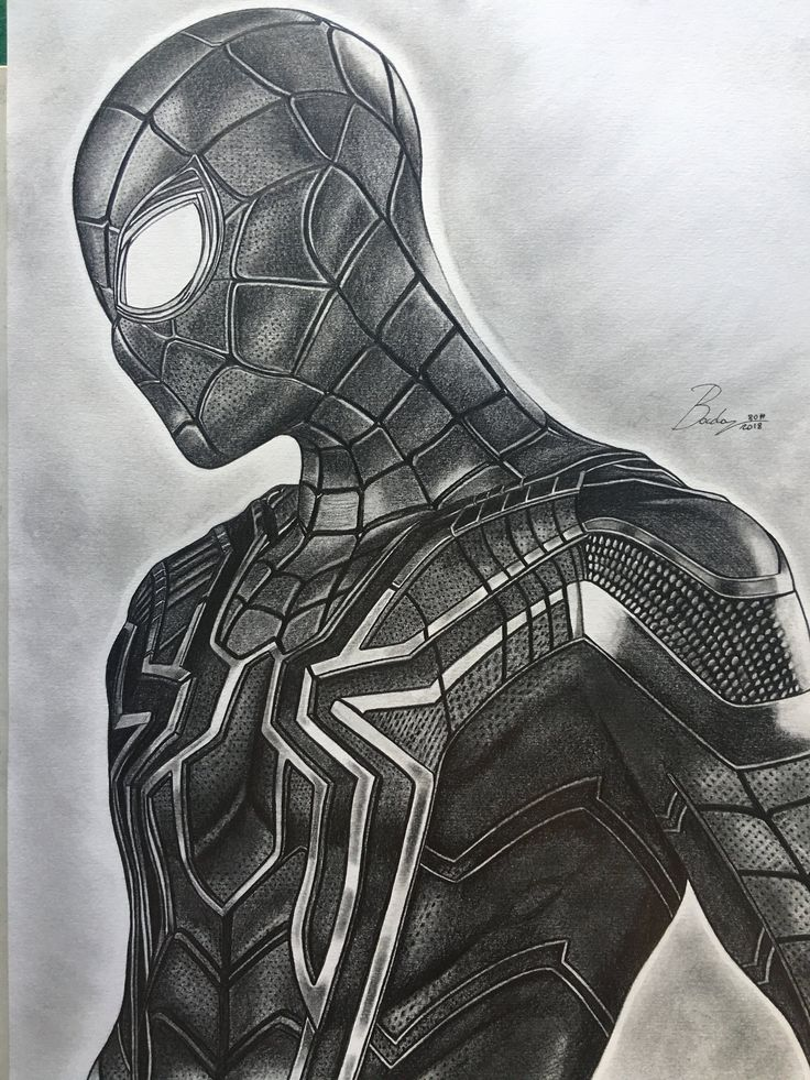 Ritratto originale a matita di Spiderman,dal film Avengers Infinity War,dimensione 30×40 cm.( artwork – portrait – original – draw – print ) – Avengers / Marvel