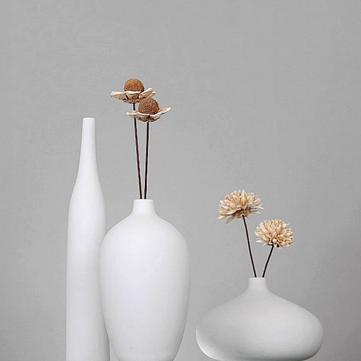 Set of 3 modern white porcelain vase ceramic flower vases for Floor vase with flowers