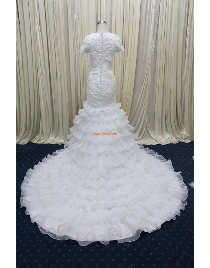 Meerjungfrau-Linie/Mermaid-Stil Chic & Modern Reißverschluss Handarbeitern Maßgeschneiderte Hochzeitskleidung