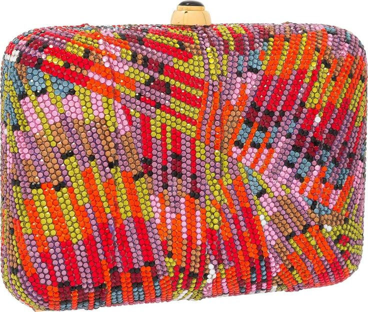 Judith Leiber Full Bead Red & Purple Crystal Rectangular Minaudiere Bag 2 +