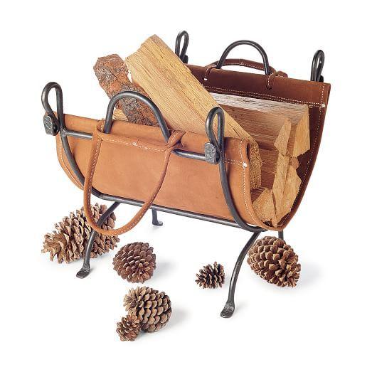 Pilgrim Folding Log Carrier, Iron/Leather